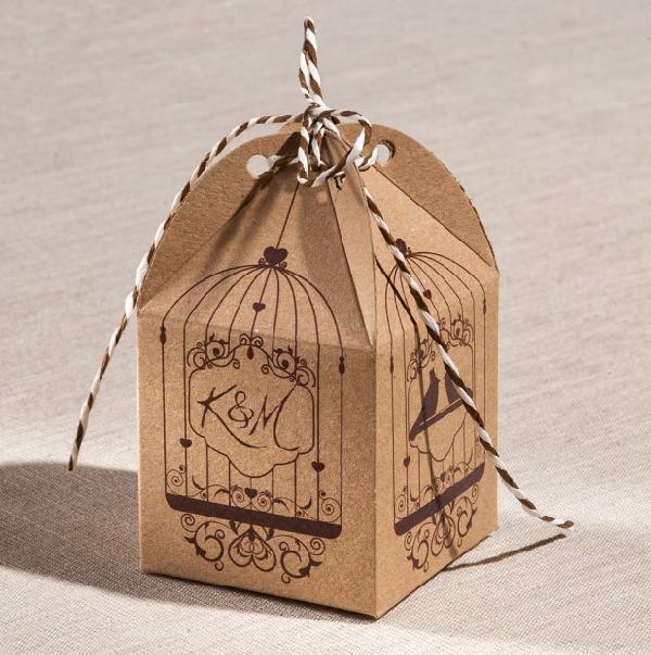 Μπομπονιέρα γάμου κουτί κύβος με θέμα τα πουλάκια στο κλουβί της ζωής
