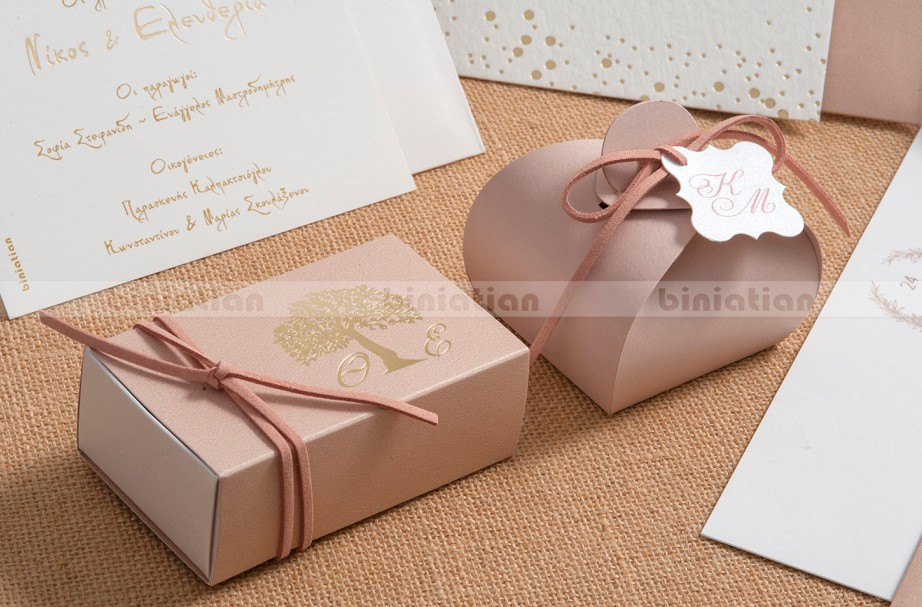 Σπιρτόκουτο δένδρο ζωής και κουτί λουλούδι μπομπονιέρα γάμου