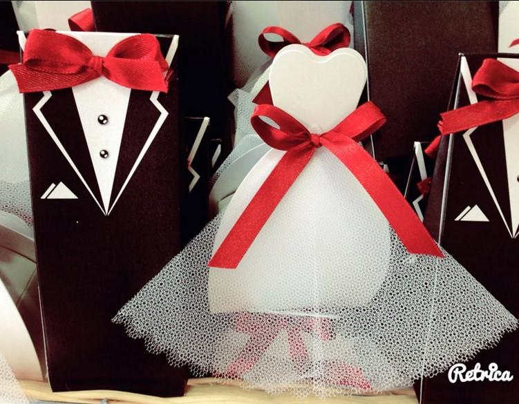 Vintage μπομπονιέρα γάμου κουτιά με νύφη+γαμπρό θέμα