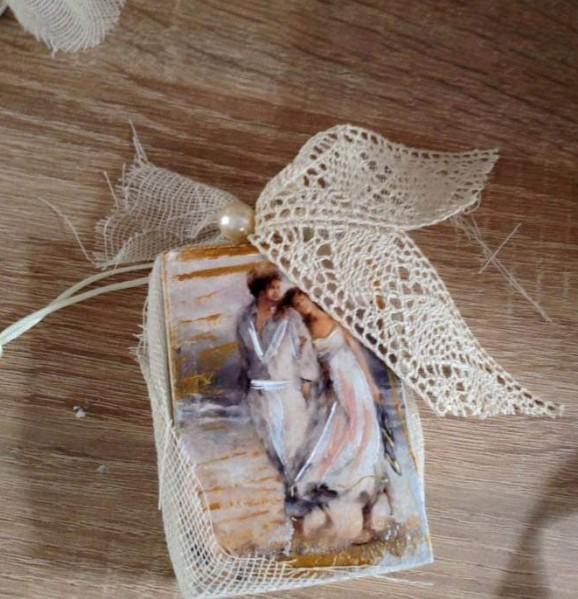 Ρετρό μπομπονιέρα γάμου σαπουνάκι ζευγάρι βόλτα στην παραλία