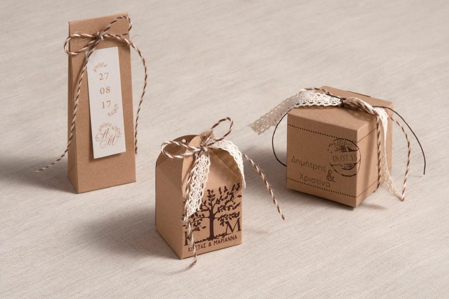 Μπομπονιέρες γάμου κουτιά κραφτ χαρτί με σετ κάλεσμα