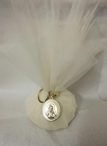 Τούλινη μεταλλικό μπρελόκ εικόνα της Παναγίας μπομπονιέρα γάμου