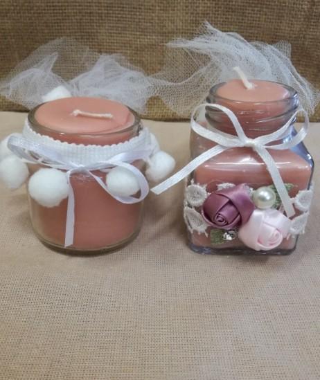 Μπομπονιέρα γάμου βαζάκια με κερί και πον-πον λουλούδια φλοράλ