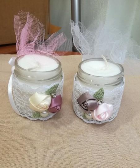 Μπομπονιέρα γάμου βαζάκια-κερί με λουλούδια φλοράλ