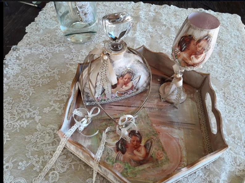 44a31f5aac8f Σετ κουμπάρου γάμου ρομαντικό vintage σχέδιο δυο αγγελάκια