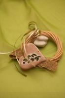Καρδιά στεφανάκι κεραμική με κλαδί ελιάς
