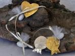 Στεφανάκι με ρόδια-καρδιά από αλπακά και ορείχαλκο