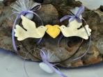 Στεφανάκι καρδιά και περιστέρια μεταλλικά