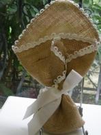 Λινάτσα μαντήλι με δαντέλα τρέσα και κορδέλα