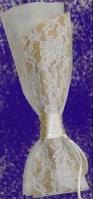 Τούλινη με δέσιμο λαιμό και κορδέλα λινάτσα-δαντέλα