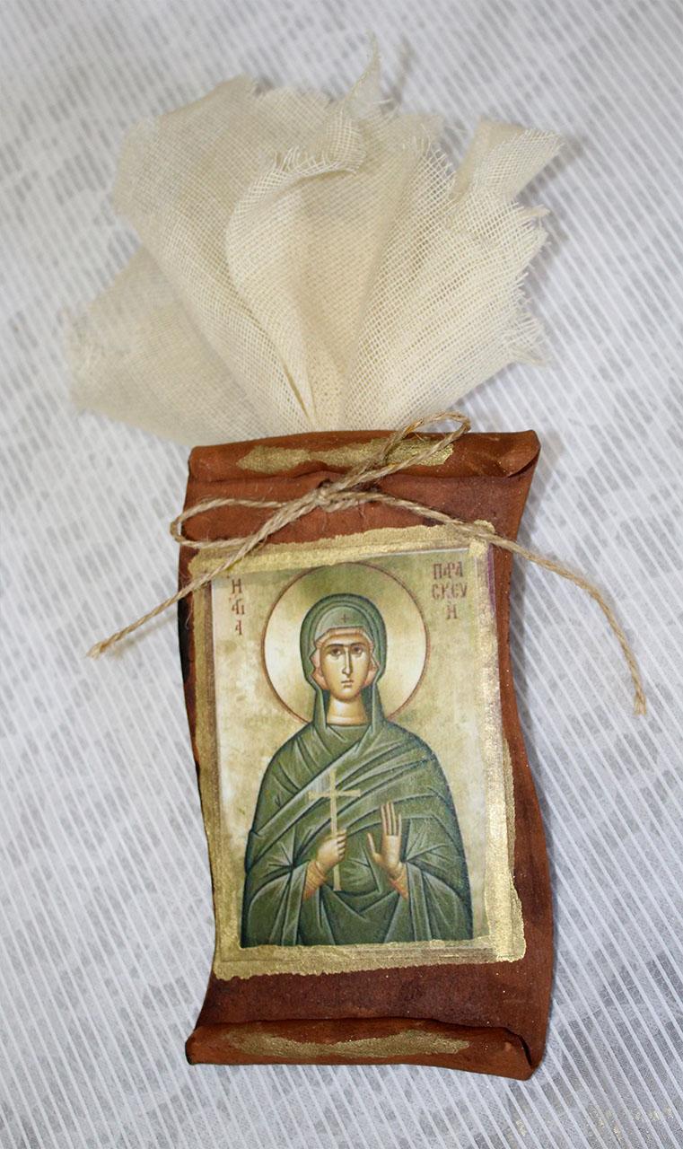 Μπομπονιέρα βάπτισης εικόνα Αγία παρασκευή πάπυρος πλαϊνά κοψίματα