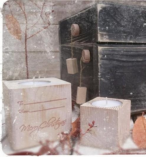 Ρεσώ ξύλινο σε κύβο και ευχές χριστουγεννιάτικο γούρι-διακοσμητικό
