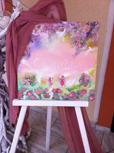 Πίνακας βάπτισης για welcome decoupage με λουλούδια-πριγκίπισσες