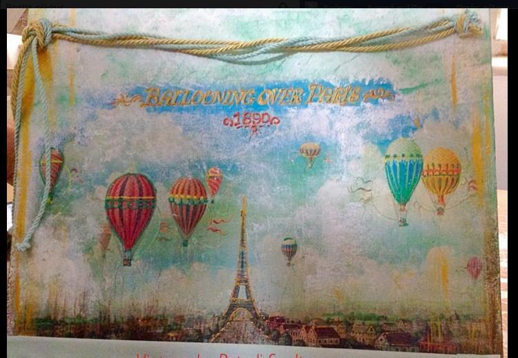 Κάδρο για το welcome της βάπτισης με θέμα τα αερόστατα