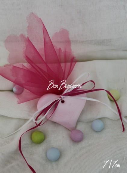 Οικονομική κεραμική μπομπονιέρα βάπτισης καρδιά ροζ