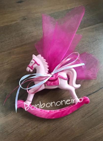 Μπομπονιέρα βάπτισης καρουσέλ-ροζ κεραμικό οικονομικό