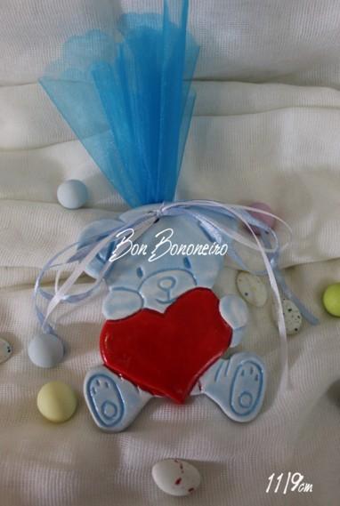 Μπομπονιέρα βάπτισης αρκουδάκι μπλε κεραμική οικονομική