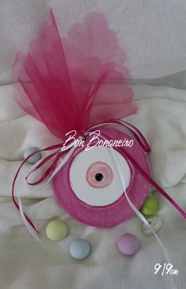 Μπομπονιέρα βάπτισης μάτι ροζ κεραμικό οικονομικό