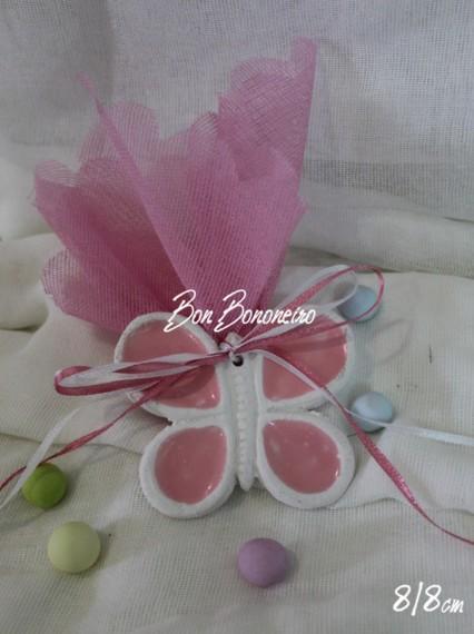 Μπομπονιέρα βάπτισης Πεταλούδα ροζ κεραμικό οικονομικό
