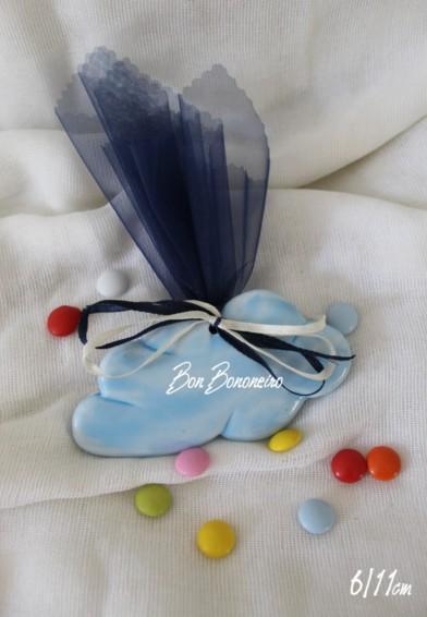 Μπομπονιέρα βάπτισης συννεφάκι σιέλ σμάλτο κεραμικό