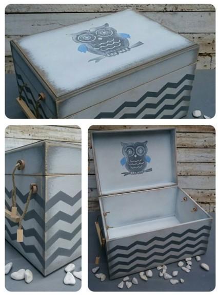 Χειροποίητο κουτί για ρούχα βαπτιστικά vintage με την κουκουβάγια