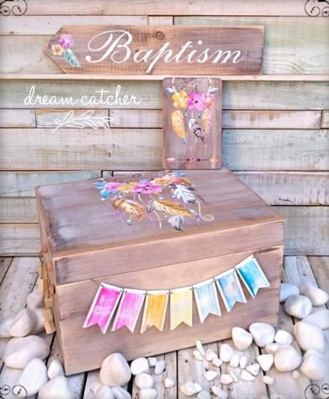 Κουτί ρούχων βάπτισης ονειροπαγίδα κατασκευή-ζωγραφική στο χέρι