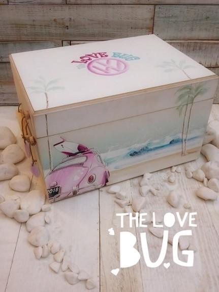 Βαπτιστικών κουτί ρούχων σκαραβαίος ροζ με αγάπη