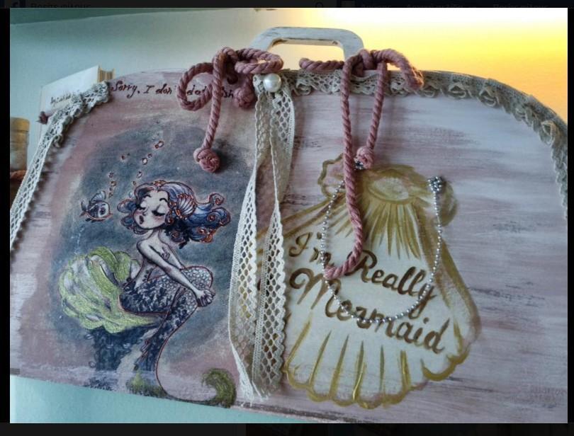 Τσάντα vintage για τα βαπτιστικά ρούχα με την γοργόνα