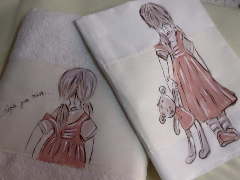 Κοριτσάκι για νάνι λαδόπανα βάπτισης ζωγραφική