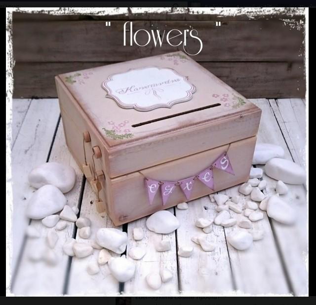 Vintage φλοράλ λουλούδια σε κουτί ευχών βάπτισης χειροποίητο