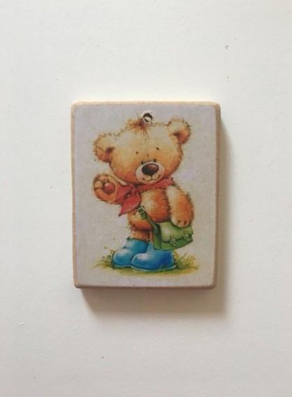 Καδράκι ξύλινο με μικρό αρκούδο μπομπονιέρα βάπτισης