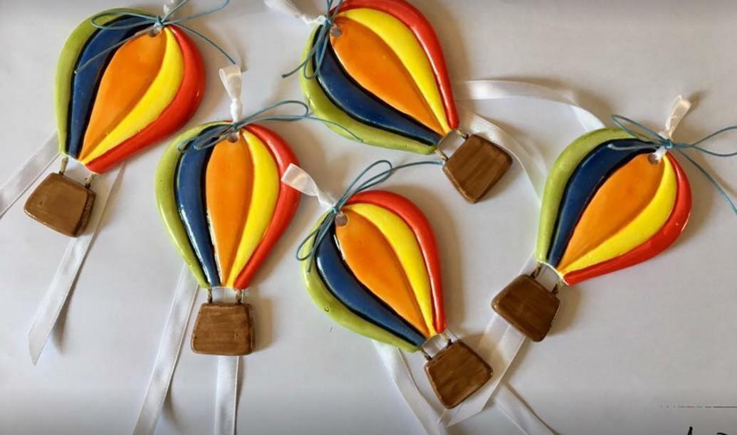 Αερόστατο κεραμικό με σμάλτο μπομπονιέρα βάπτισης