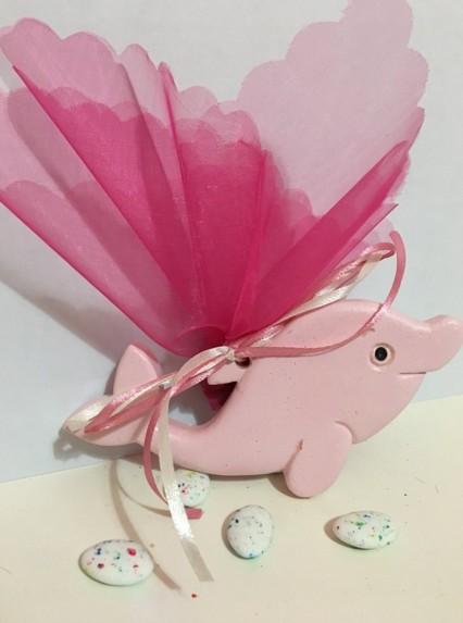 Μπομπονιέρα βάπτισης δελφινάκι ροζ κεραμική-σμάλτο
