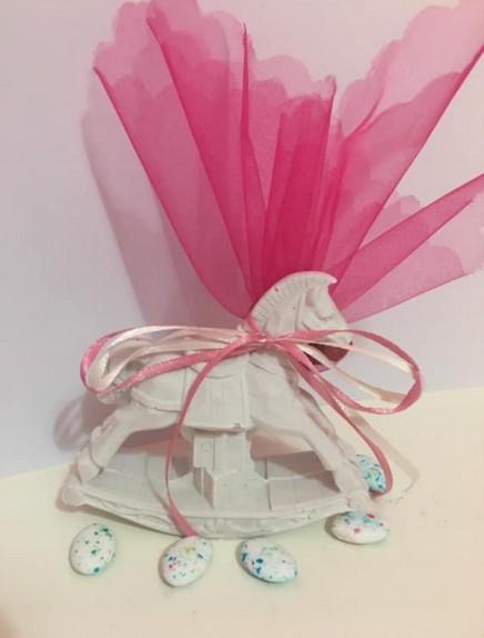 Μπομπονιέρα βάπτισης vintage καρουσέλ ροζ κεραμικό