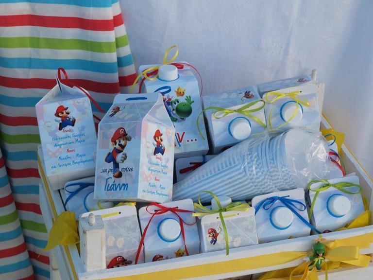 Κουτί γάλα κακάο μπομπονιέρα βάπτισης με τον Super Mario