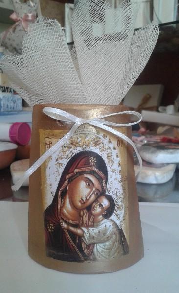 Η Παναγία η Γλυκοφιλούσα σε κεραμίδι κεραμικό μπομπονιέρα βάπτισης