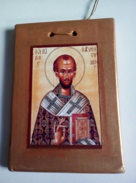 Μπομπονιέρα βάπτισης Άγιος Ιωάννης Χρυσόστομος κεραμικό καδράκι