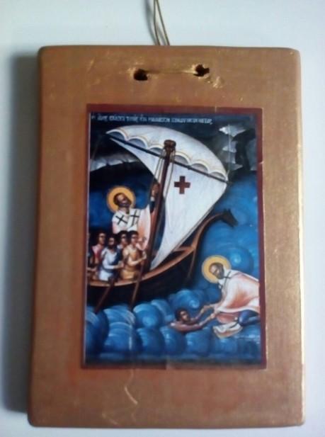 Mπομπονιέρα βάπτισης εικόνα Αγίου Νικολάου σε καδράκι κεραμικό