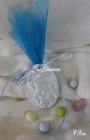 Οικονομική κεραμική μπομπονιέρα βάπτισης καδράκι καρουζέλ σιέλ