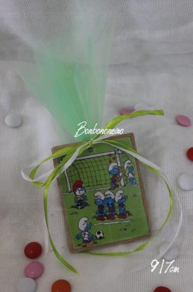Καδράκι ξύλινο στρουμφάκια-ποδόσφαιρο μαγνητάκι μπομπονιέρα βάπτισης
