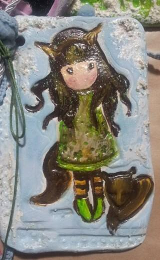 Καδράκι χειροποίητη μπομπονιέρα βάπτισης με κοριτσάκι gorjuss