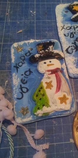 Νέα μπομπονιέρα βάπτισης καδράκι πορσελάνης με χιονάνθρωπο