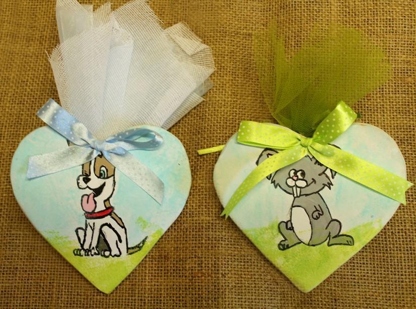 Βάπτισης μπομπονιέρα καρδιά decoupage με σκυλάκι και λαγουδάκι