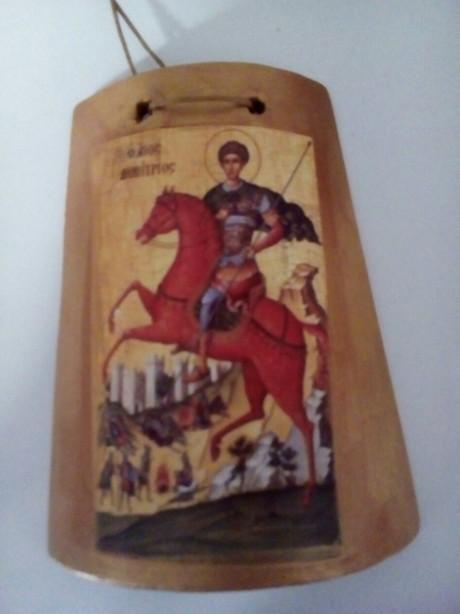 Μπομπονιέρα βάπτισης ελληνική με τον Άγιο Δημήτριο σε κεραμίδι