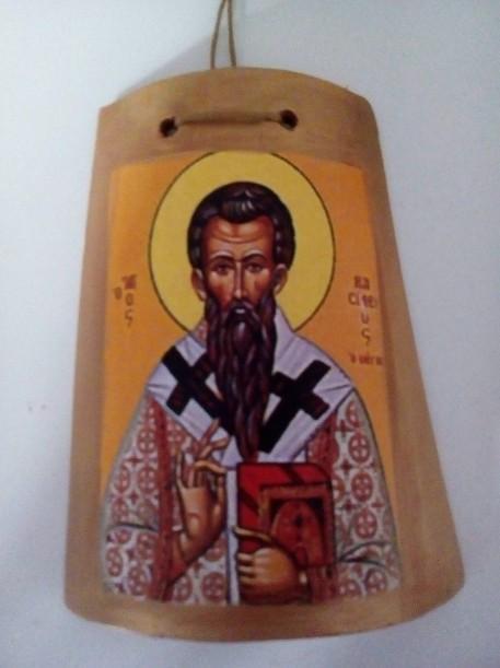 Μπομπονιέρα βάπτισης Άγιος Βασίλειος σε κεραμίδι-καδράκι ντεκουπάζ
