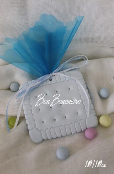 Μίνιμαλ κεραμική μπομπονιέρα βάπτισης μπισκότο σιέλ