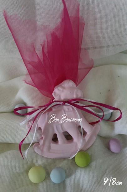Οικονομική κεραμική μπομπονιέρα βάπτισης καρουζέλ ροζ