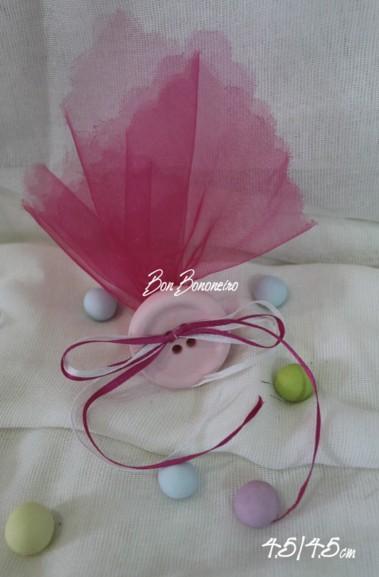 Μίνιμαλ κεραμική μπομπονιέρα βάπτισης ροζ κουμπί