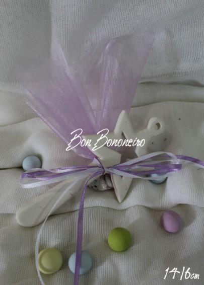 Μίνιμαλ κεραμική μπομπονιέρα βάπτισης σιέλ μαγικό ραβδί