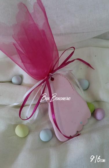 Οικονομική κεραμική μπομπονιέρα βάπτισης πατουσάκι ροζ